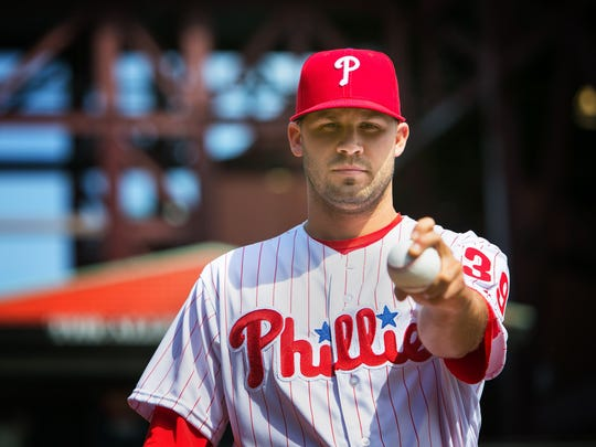 Phillies pitcher Adam Morgan with his curveball grip.