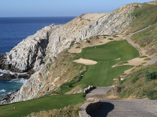 Hole 6 is a par-three perched on cliffs along the Pacific Ocean of the Baja Peninsula.