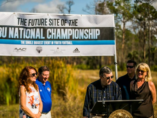The future site of the Collier County Sports Complex is commemorated during an official groundbreaking ceremony next to the Fairfield Inn & Suites in East Naples on Monday, Dec. 18, 2017.