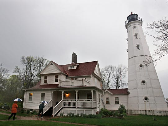 Patrons arrive to take a tour of the North Point Lighthouse.