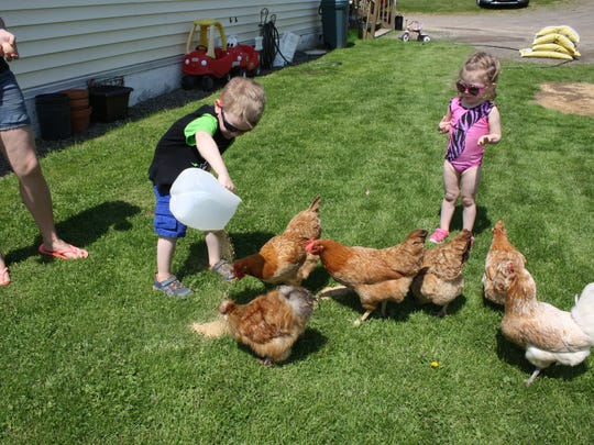 Jonny Anderson, 5, and Kayla Anderson, 3, feed chickens outside their Nineveh home.