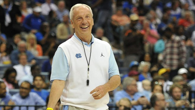 North Carolina coach Roy Williams watches his team practice prior to their NCAA tournament game in Memphis.