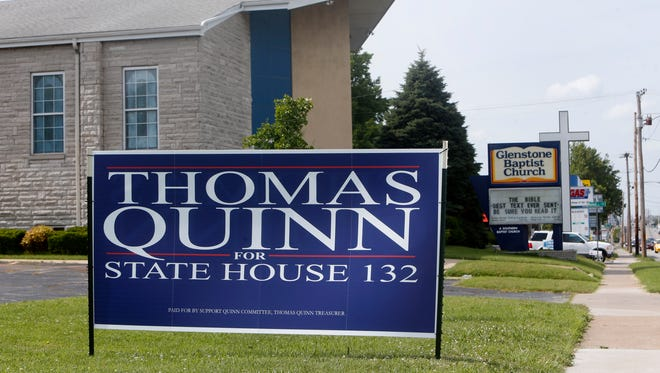 A Thomas Quinn campaign sign is placed in the yard of Glenstone Baptist Church on Thursday, June 23, 2016.