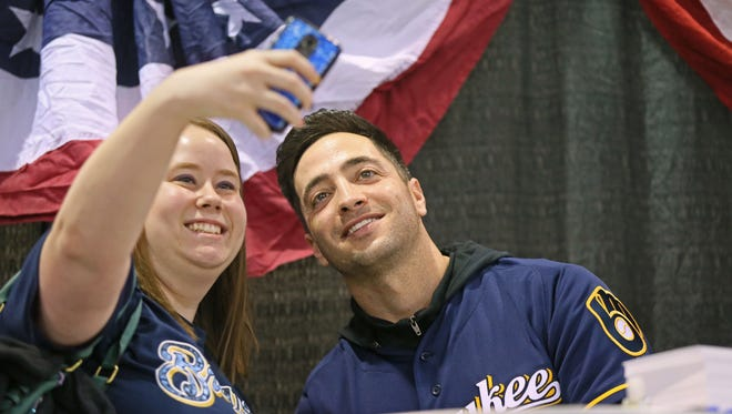 Stephanie Leicht of Manitowoc takes a selfie with Brewers star Ryan Braun at Brewers On Deck 2016 at the Wisconsin Center on Jan. 30, 2016.