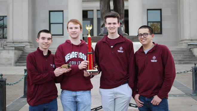 "The Henderson County High School quick recall ""A"" team won the NAQT Kentucky State Championship at Western Kentucky University Saturday. Teammates pictured, from left, are Harrison Jenkins, Isaac Oettle, Will Hardy and Zachary Beickman."