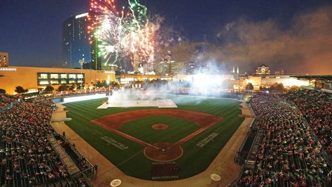 The Indianapolis Indians celebrate the 20th anniversary of Victory Filed with a fireworks show after the game, the Indians VS the Toledo Mud Hens, Friday July 8th, 2016.