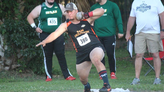 Former Del Valle and current Sam Houston thrower Joshua Hernandez prepares to launch a shot put. Hernandez is headed to the NCAA championships meet next week.