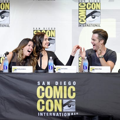 Wonder Woman (Gal Godot) holds court at the Warner