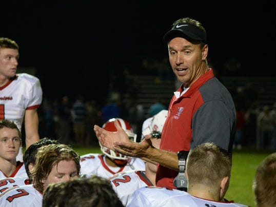 Susquehannock head coach Steve Wiles addresses his team after the Warriors' Week 2 win against York Catholic. Wiles said he could sense a change in his team after that victory.
