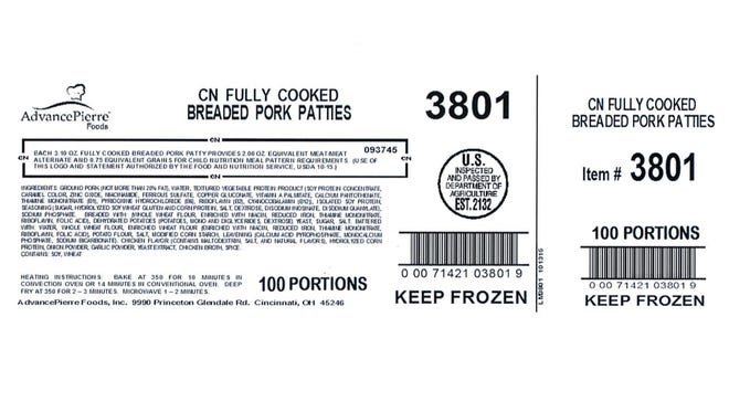 A Blue Ash company recalled 3,500 pounds of pork Saturday after the company discovered an omission on the product label.