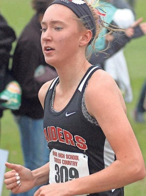 Williamsburg senior Julie Hollensbe runs in the Oct. 31 state meet at Fort Dodge.