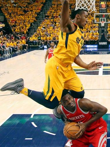 Utah Jazz guard Donovan Mitchell leaps over Houston