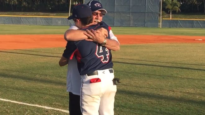 Tom McGovern of Columbus, Ohio, had never seen his grandson Ryan play baseball. In a surprise visit, he threw out the first pitch of Thursday's Gulf Coast-Estero game, with a shocked Ryan serving as his catcher.