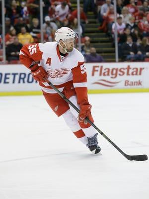 Detroit Red Wings defenseman Niklas Kronwall skates against the Pittsburgh Penguins on Dec. 31, 2015, in Detroit.