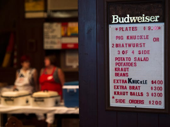 A lull in the dishing out of pig knuckles and bratwurst