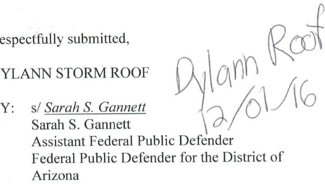 In acting as his own attorney, Dylann Roof is signing off on documents authored by his standby counsel. Clients who are represented by lawyers typically do not need to endorse such documents.