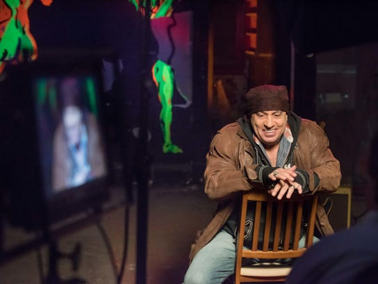 Steven Van Zandt is filmed in The Upstage Club by The