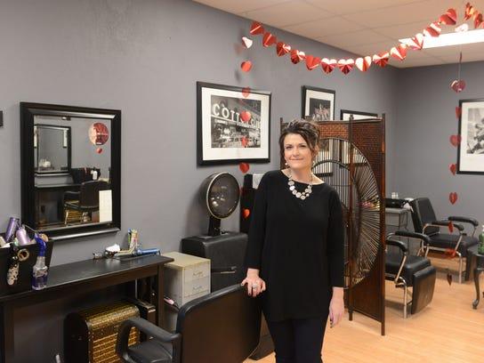 Julie Honaker in the hair studio at Bella Cosa.