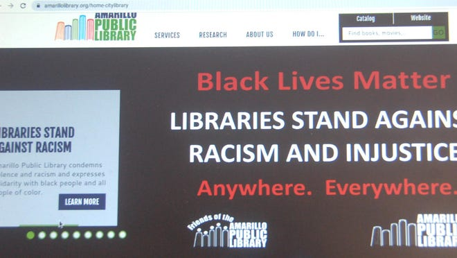 The Amarillo Public Library's website features a Black Lives Matter resource page on its homepage.