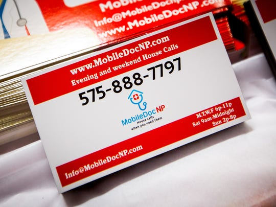 Refrigerator magnets advertising new medical house call service MobileDocNP at the Lion's Club Christmas in July Crafts Fair Saturday, July 16, 2016.