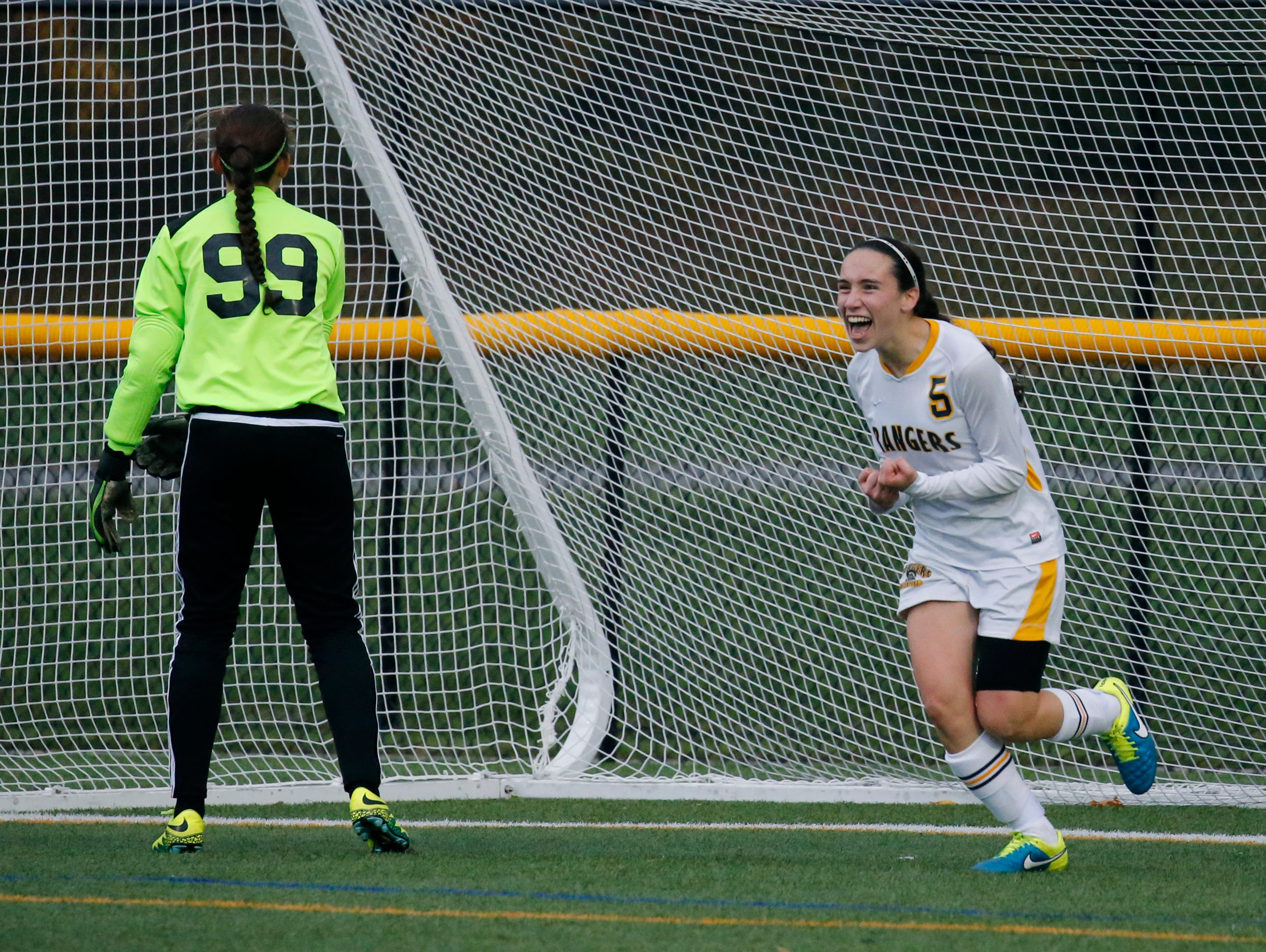 Spencerport's Luca Fahmer shows her excitement after scoring for a 2-0 win over Aquinas at Webster Schroeder High School.