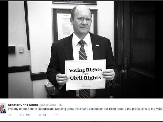 Senator Chris Coons (D - Del.) asked republicans to cosponsor his bill to repair inequalities in voting rights.