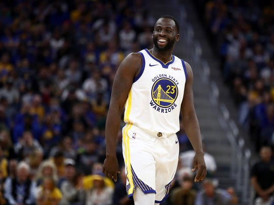 SAN FRANCISCO, CALIFORNIA - OCTOBER 05:  Draymond Green #23 of the Golden State Warriors smiles during their game against the Los Angeles Lakers at Chase Center on October 05, 2019 in San Francisco, California.  NOTE TO USER: User expressly acknowledges and agrees that, by downloading and or using this photograph, User is consenting to the terms and conditions of the Getty Images License Agreement.  (Photo by Ezra Shaw/Getty Images)