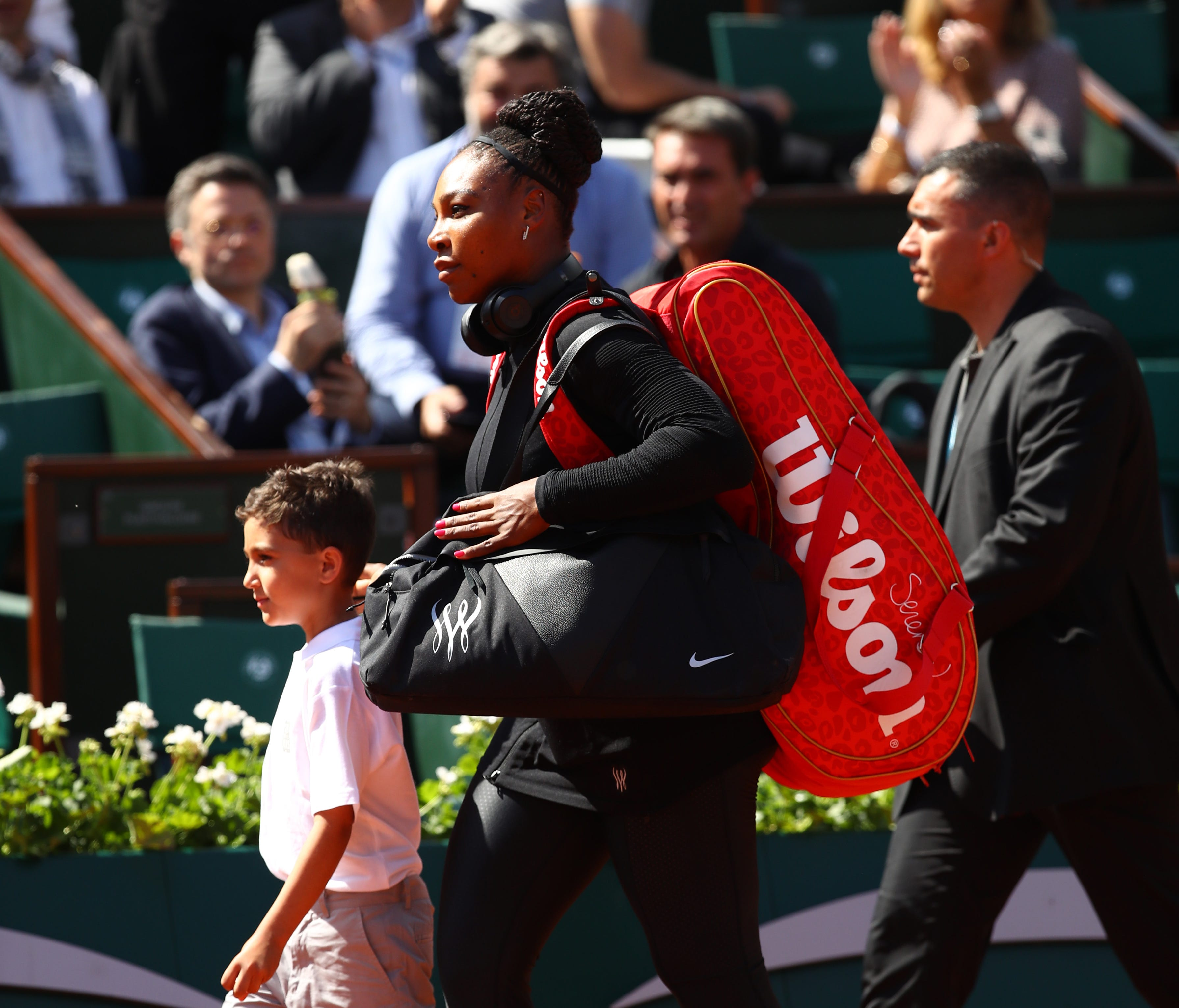 Serena Williams walks out onto court for her singles match against Kristyna Pliskova of Czech Republic during day three of the 2018 French Open at Roland Garros on May 29.