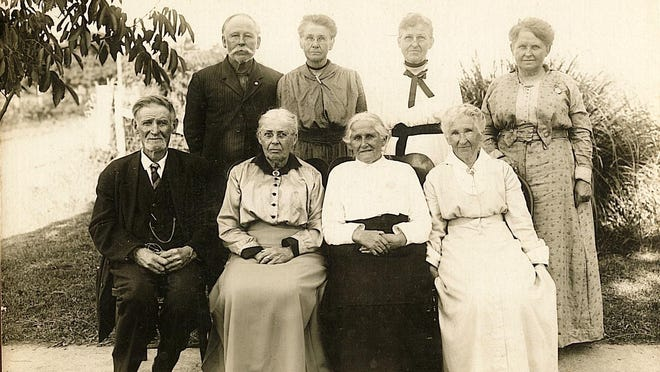 "The Stevens siblings at the 25th reunion on July 19, 1916. Seated, left to right: Isaac Stevens, Rebecca (Stevens) Mount, Rispa (Stevens) Ringo and Christina (Stevens) Esson. Standing, left to right: Millard Stevens, Sarah (Stevens) McCubbins, Mary (Stevens) Smith and Martha Arabelle ""Mattie"" (Stevens) Cahill."