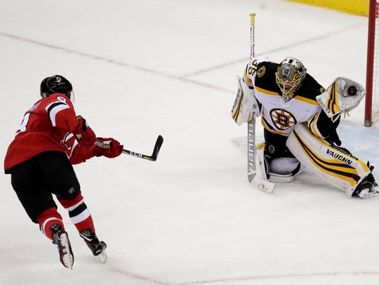 Boston Bruins goalie Anton Khudobin (35), of Kazakhstan,