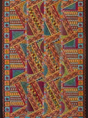 """Jim Sherraden will be set up with his block print """"quilts"""""""