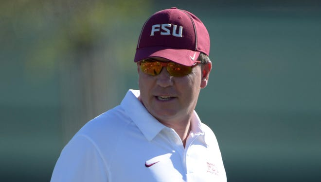 Florida State coach Jimbo Fisher directs practice for the 2014 BCS National Championship Game on Thursday at the Jack R. Hammett Sports Complex in Costa Mesa, Calif.