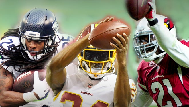 """(Clockwise from top right) Patrick Peterson, Josh Norman and Richard Sherman all often receive the """"shutdown cornerback"""" label."""