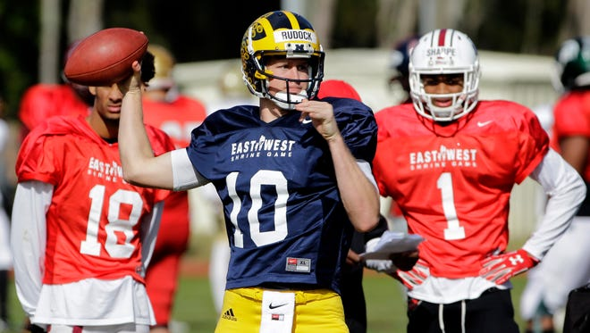 Quarterback Jake Rudock of Michigan practices for the East West Shrine Game on Jan. 20, 2016, in St. Petersburg, Fla.