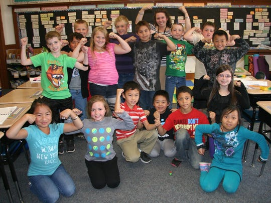 Students at Grant and G.D. Jones Elementary schools celebrate receiving a Reach for the Stars grant from the Wausau School Foundation to help boost the classroom learning environment.