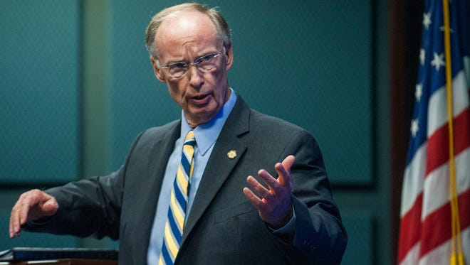Alabama governor Robert Bentley speaks at the Governor's Summit on Alabama Veteran Employers on Tuesday November 10, 2015 in Montgomery, Ala.