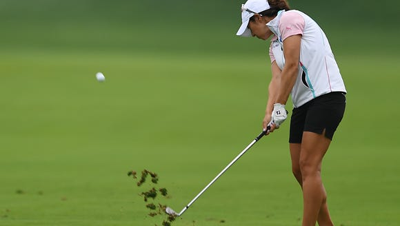 Marina Alex hits from the fairway on the 15tth hole