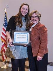 Outstanding Youth Award winner Natalie Cadotte and Livonia Observer editor Joanne Maliszewski.