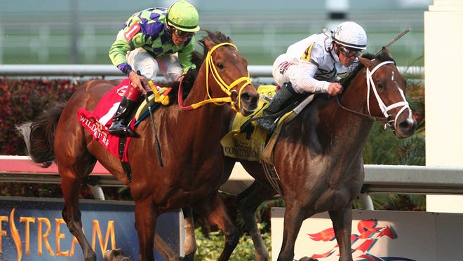 Javier Castellano on Constitution, right,  defeats Wildcat Red to win the Florida Derby at Gulfstream Park Saturday