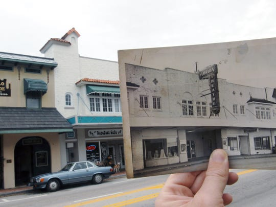 An archive photo of the Florida Theatre is seen on top of the 2012 Theatre Plaza at 2036 14th Ave., in Vero Beach.