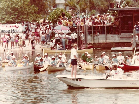 In the file photo, the Great Dock Canoe Race in 1980.