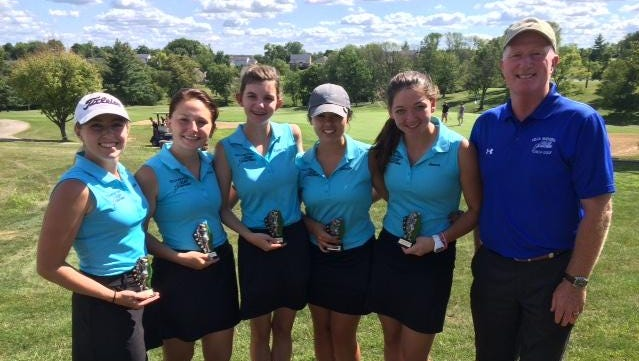 Villa MadonnaVilla Madonna girls golfers who took part in the All 'A' tournament include, from left: Kaila Troxell (Villa Hills), Paige Tepe (Florence), Natalie Boucher (Villa Hills), Camryn Bellish (Delhi Township) and Jenna Doumont (Burlington). Kaila Troxell (Villa Hills), Paige Tepe (Florence), Natalie Boucher (Villa Hills), Camryn Bellish (Delhi Twp.) and Jenna Doumont (Burlington)
