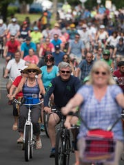 Bicycle riders of all ages and skill levels take part in Bike Pensacola's Slow Ride series in April. This month's ride is set for Saturday.
