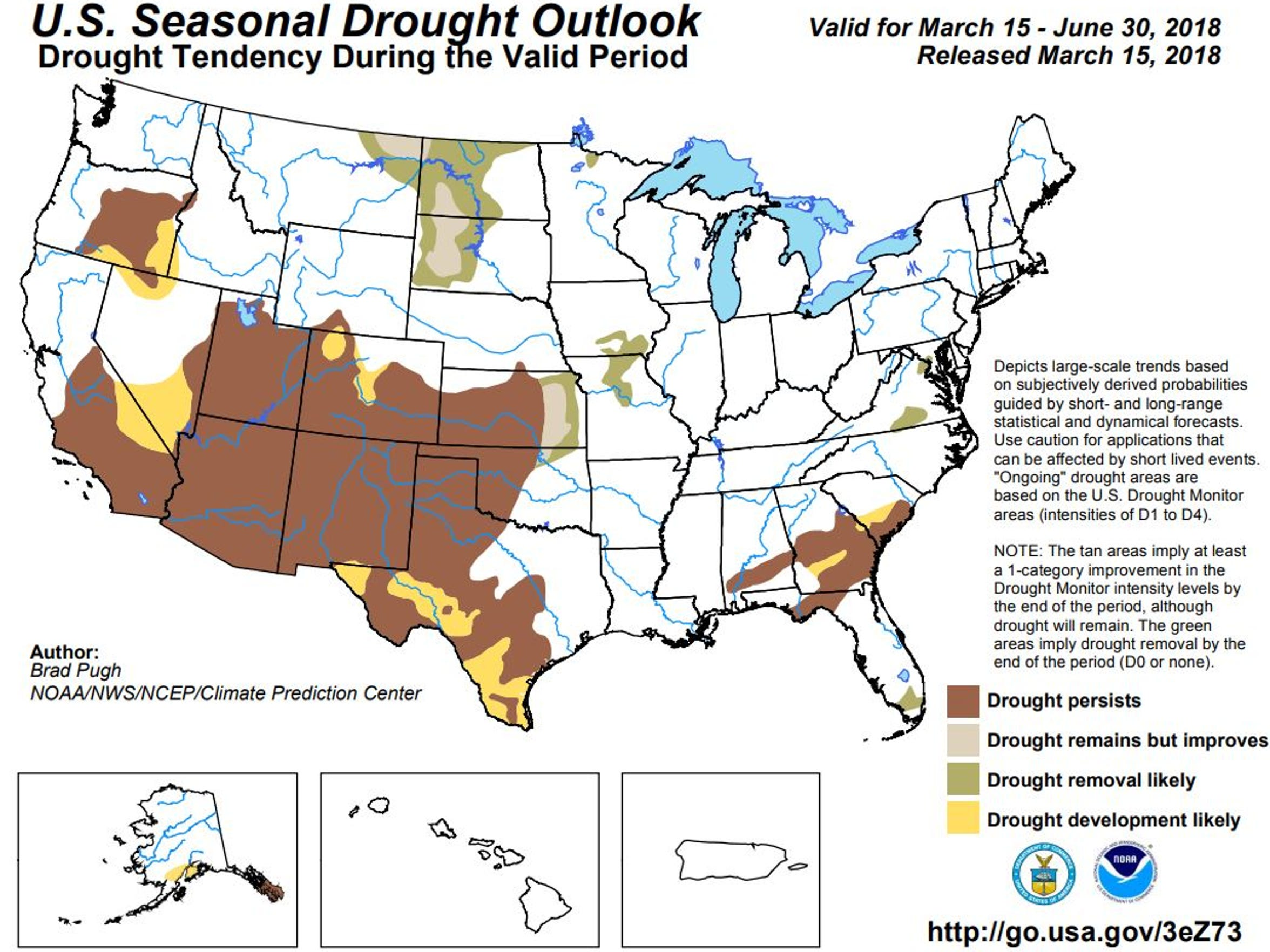 The Climate Prediction Center's seasonal drought outlook through June 30, 2018.
