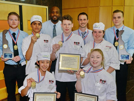 William Penn High School won the culinary and management competitions at the fifth annual Delaware ProStart Student Invitational. The Culinary Team included Jesus Garcia, Taylor Jacobs, Joey Kucharski, Kaitlin Luciano, Beatriz Ramirez along with the management team of Anthony Gregory and Shawn Pester. William Penn educators include Kip Poole, Ian Baker and Matthew Vaughan.