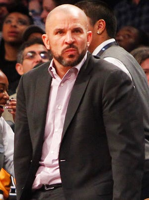 Jason Kidd watches his Nets in Barclays Center in February.