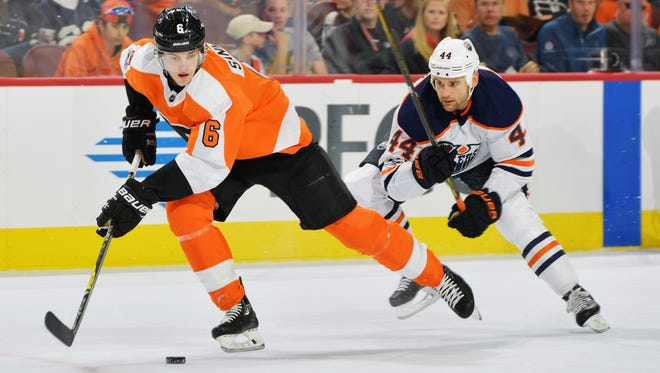 Travis Sanheim has one assist in his first nine NHL games and is learning that mistakes can be quickly forgotten.