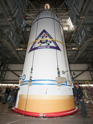 The U.S. Air Force's eighth Wideband Global SATCOM satellite, encapsulated in a 5-meter payload fairing, was mated to a Delta IV booster at Cape Canaveral Air Force Stations's Launch Complex 37.