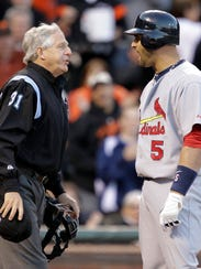 St. Louis Cardinals first baseman Albert Pujols, right,