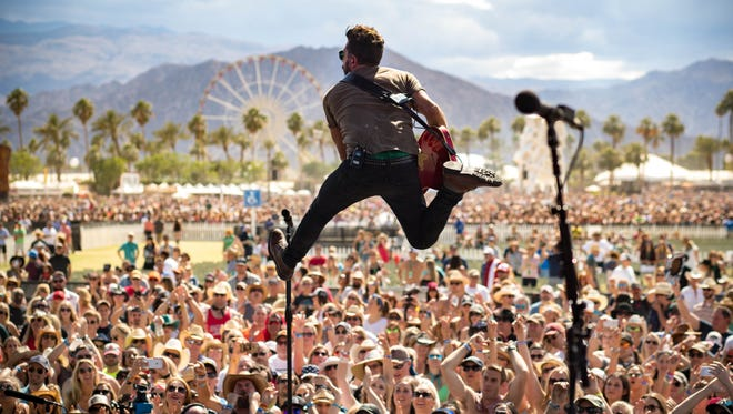 Old Dominion's Matthew Ramsey leaps during the band's set at the Stagecoach festival in Indio, California last year. The act will be the debut concert at the new Hudson Fields stage near Milton.